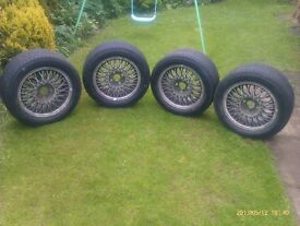 "4 No. 15"" Ford Sierra Cosworth wheels with Michelin wets- ex Italian Touring car"