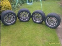 """4 No. 15"""" Ford Sierra Cosworth wheels with Michelin wets- ex Italian Touring car"""