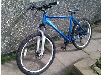 Stolen Carerra Vulcan Mountain Bike, blue & white , front suspension, Saturday St George