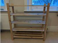 5 Shelf Shoe Storage Rack Solid Unfinished Pine