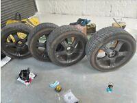 """20"""" Alloy wheels and tyres 295/40 - 5x120 VW Toureg, T4, T5, Q7, range rover p38 gunmetal"""