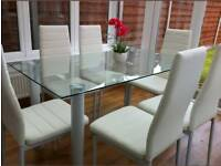 Glass white dining table