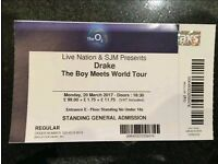 2x Drake - 20 March 2017 - The O2 London - General Admission / Standing