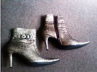 TRULY LOVELY ALWAYS FASHIONABLE ORIGINAL SILVERY GOLDEN ANKLE BOOTS