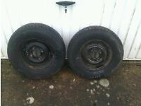Pair 10 inch mini wheels with tyres