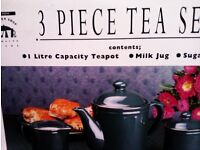 BRAND NEW BOXED THREE PIECES TEA & COFFEE SET WITH GOLD LINE
