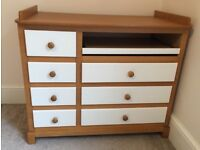 Solid wood chest of drawers with baby change table made by Kaloo
