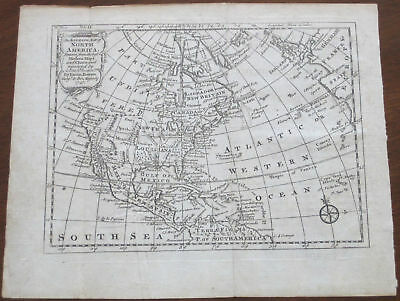 """Emmanuel Bowen: """"An Accurate Map of North America"""" 1747"""
