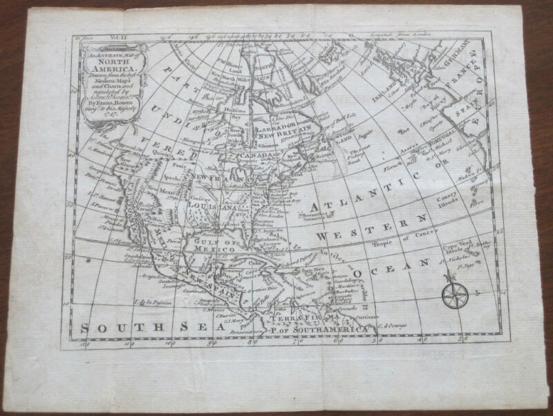 "Emmanuel Bowen: ""An Accurate Map of North America"" 1747"