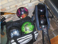 5 bowling ball and 2 bags for sale EBONITE