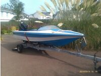 Speedboat in need of attention, spares or repair. Fletcher 14' 50hp Mercury on good road trailer.