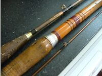 Vintage Fishing Tackle, Two Rods, One Copper, One Cane Plus Four Reels