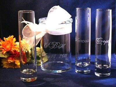 4 pc Wedding Sand Ceremony Set, Engraved Cylinder Jar & 3 Cylinder vases, - Sand Ceremony Vases