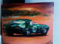 TRULY LOVELY ORIGINAL REAL OIL ON CANVAS PAINTING OF SPEEDING SPORT CAR