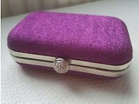 Purple sparkle clutch evening bag brand new
