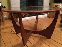 Retro G-Plan style round glass topped coffee table