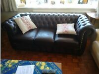 Genuine Chesterfield 3 seater leather sofa