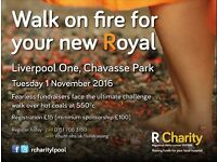 Charity Fire Walk. Liverpool One. Chavasse Park. Tuesday 1 November 2016