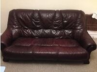 3-seater Red leather sofa-excellent condition