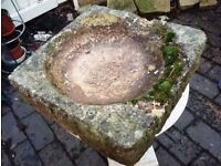 Old stone garden bird bath top. Some ageing. Ideal for Spring gardening feature