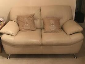 2-Seater Cream Leather Sofa
