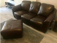 Brown Leather Sofa 3 Piece Set with Footstool