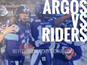 TIKTIKS | Argos vs Riders Sept 22nd @ BMO Field | Cheaper than Ticketmaster. CAD$. No Fees. Canadian Comp