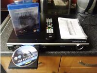 blue ray player with remote instruction and film included