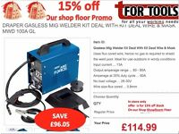 Draper 32728 Gasless Mig Welder Kit Deal With Kit Deal Wire & Mask MWD 100