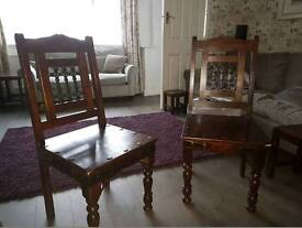 Pair of Jali Solid Sheesham Indian Rosewood Chairs