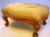 Vintage Antique Tapestry Needlepoint Floral Footstool VGC (WH_0723)