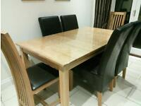 extendable dining table and 6 dining chairs