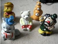 5 Vintage Ceramic Money Boxes Robber Duck, Cat, Clown, Teddy Bear x2