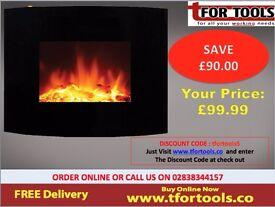 De Vielle Wall Mounted Log Effect Electric Fire Screen 1400w DEF766333 Black