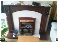 HIGH QUALITY MAHOGANY ELECTRIC FIRE PLACE SURROUND MARBLE EFFECT BACK AND HEARTH