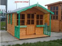 CHILDRENS WOODEN PLAYHOUSE 8X6 FULLY T&G. APPLE TREE COTTAGE