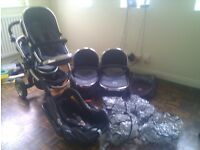 ICANDY PEACH BLOSSOM DOUBLE TRAVEL SYSTEM PUSHCHAIR IN BLACK JACK Good used Condition.