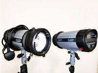 Photography studio equipment clearout Backdrops tripods flash heads Bowens mount