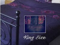 KING SIZE DUVET COVER + 4 PILLOWCASES EMBELLISHED DESIGN - BHS EX. CONDITION EASY CARE FINISH
