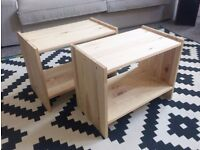 bedside table - 2 units - solid wood - collection only L17