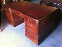 Double sided mahogany pedestal Partners desk
