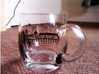 ONE BRAND NEW ORIGINAL HAND MADE VERY GOOD QUALITY LARGE BEER GLASS 'KRUGEL' WITH HANDLE