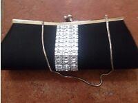 Black satin diamonte clutchbag