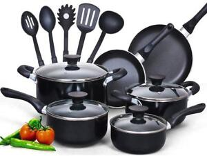 NEW Cook N Home 15 Piece Non Stick Black Soft Handle Cookware Set