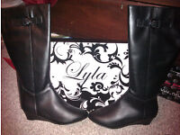 LYLA BLACK BOOTS, GENUINE LEATHER, SIZE 7, BRAND NEW IN BOX