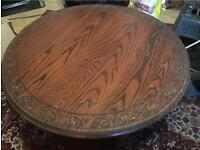 Large round solid oak table