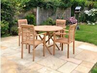 Bramblecrest Teak round 4 seater garden furniture set