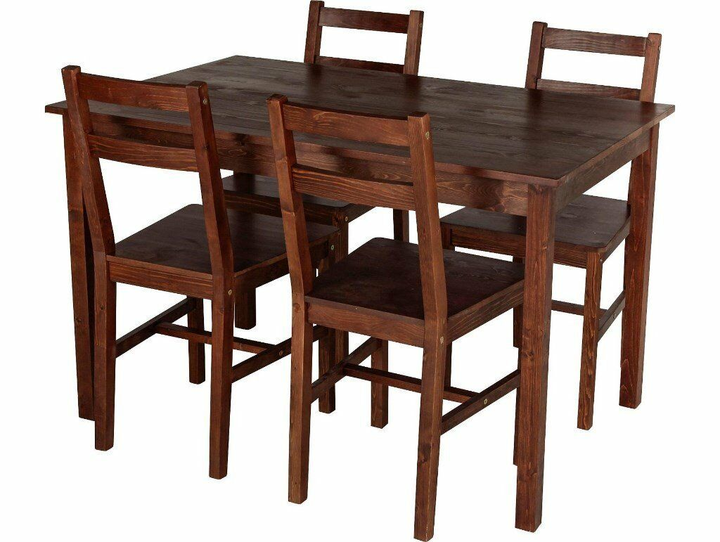 Home Raye Solid Wood Dining Table And 4 Chairs Dark Pine