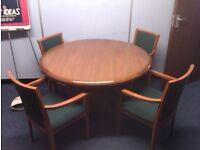MEETING TABLE, CHAIRS, CREDENZA SET - CHERRY VENEER