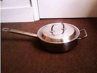 ORIGINAL VERY GOOD LIFELONG QUALITY JOHN LEWIS' HEAVY DUTY FRYING PAN WITH LID ON